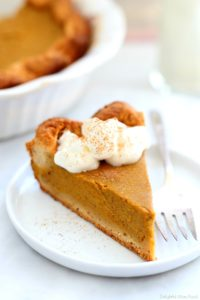slice of gluten-free pumpkin pie on a plate