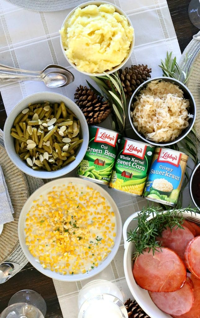 one hour dinner for the holidays with corn, ham, green beans, mashed potatoes