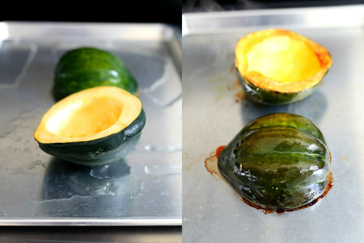 acorn squash laves on a baking pan for roasting