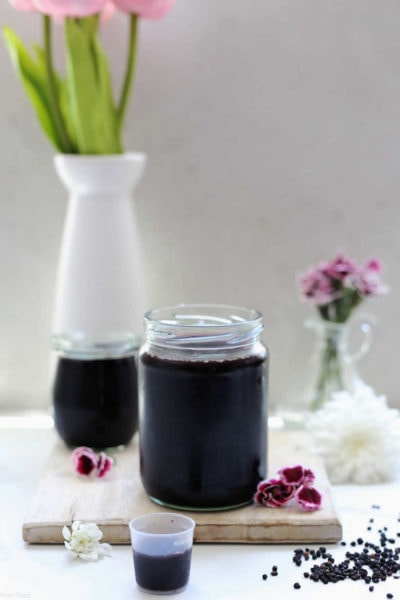 elderberry syrup on the counter in a jar