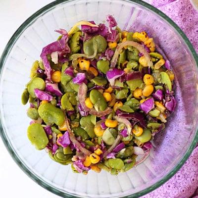 Fava Bean Salad With Honey Vinaigrette Dressing