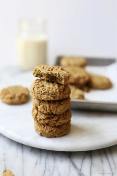 stack of cookies made with sunflower seed butter