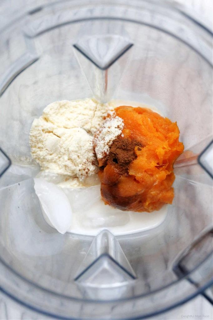 sweet potato smoothie ingredients in a blender