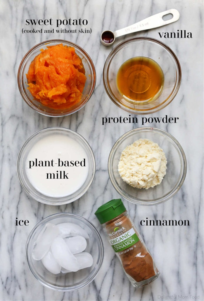 ingredients to make a thick and creamy vegan sweet potato smoothie with no banana
