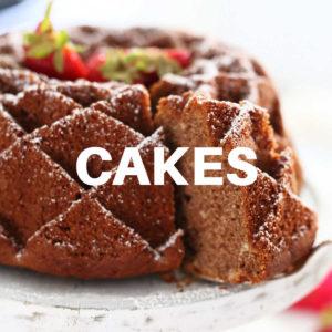 removing a slice of gluten-free strawberry bundt cake with a cake spatula