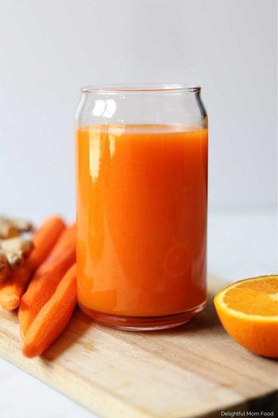 glass of cinnamon ginger carrot juice