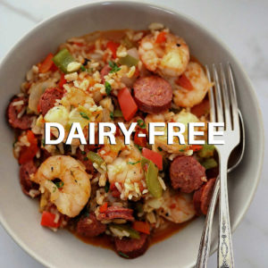 bowl of healthy jambalaya with a fork and spoon
