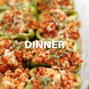 healthy ground turkey stuffed peppers in a casserole dish