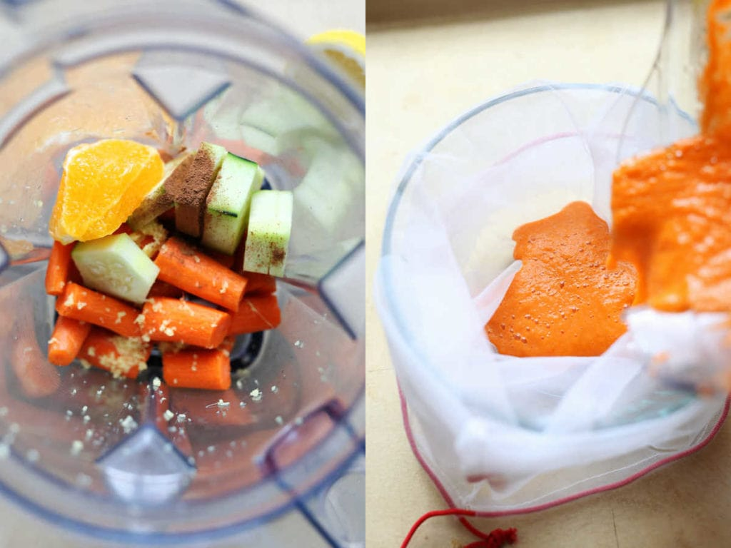 how to make carrot juice in a blender then strained with a mesh bag