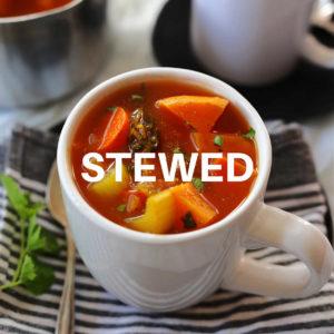 sweet potato stew in a white mug
