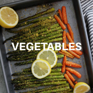 asparagus and carrots roasted on a sheet pan
