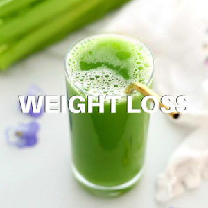 celery juice weight loss drink in a glass with a straw