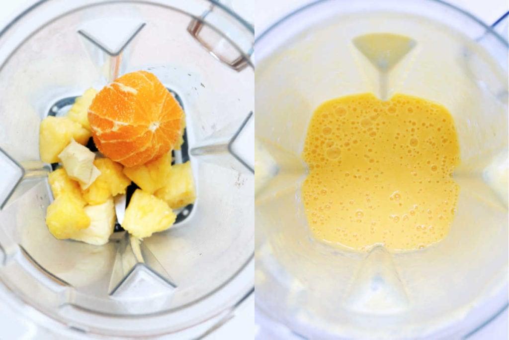 pineapple orange ginger in a blender then blended until smooth