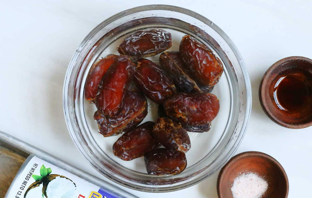 medjool dates in a bowl of water