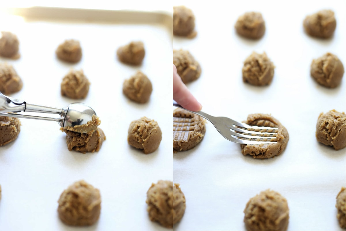 how to make almond butter cookies showing it scooped with a spoon and pressed with a fork