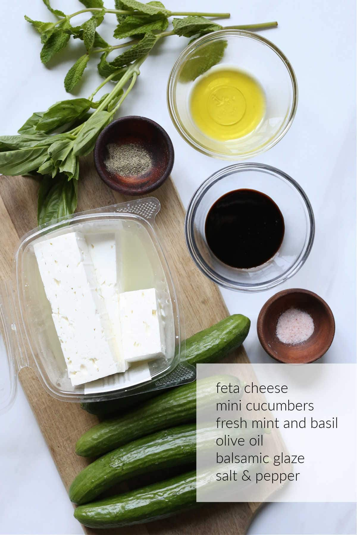 cucumber bites with feta mint and basil ingredients