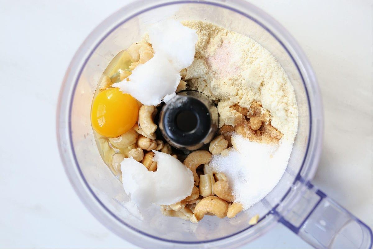 paleo pie crust ingredients in a food processor