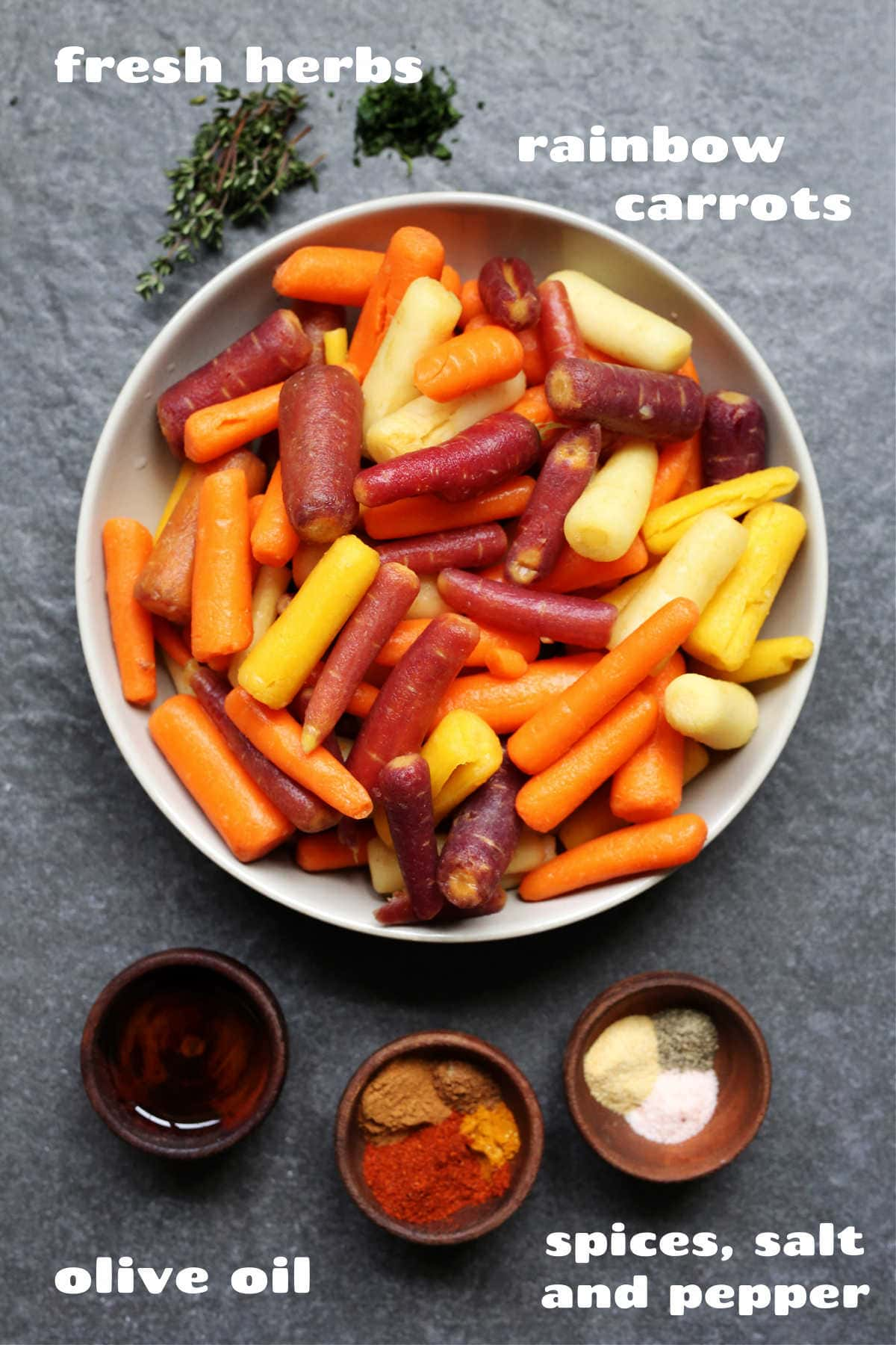 baby rainbow carrots evoo spices and herbs
