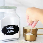 rice flour recipe in measuring cups and extra in a storage container