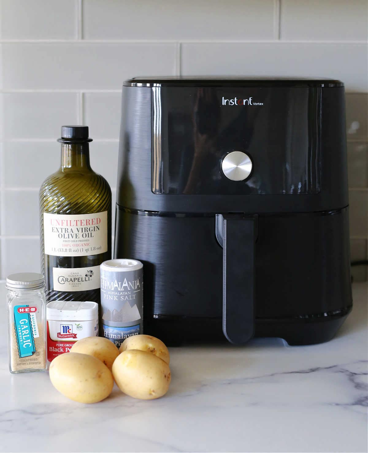 potatoes, garlic, salt, black pepper, Instant Vortex air fryer