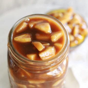 best apple pie filling from scratch stored in a mason jar