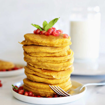 Tall stack of pancakes.