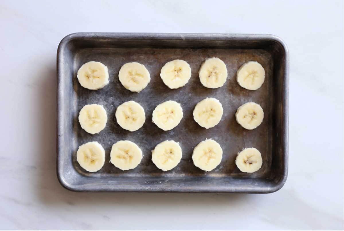 sheet pan with banana slices