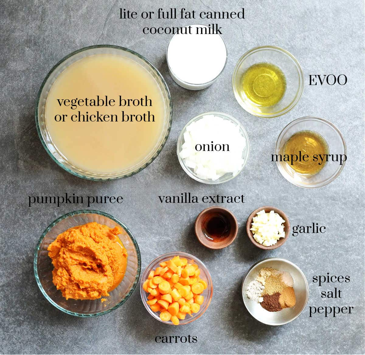 ingredients to make a healthy easy pumpkin soup recipe with pumpkin puree
