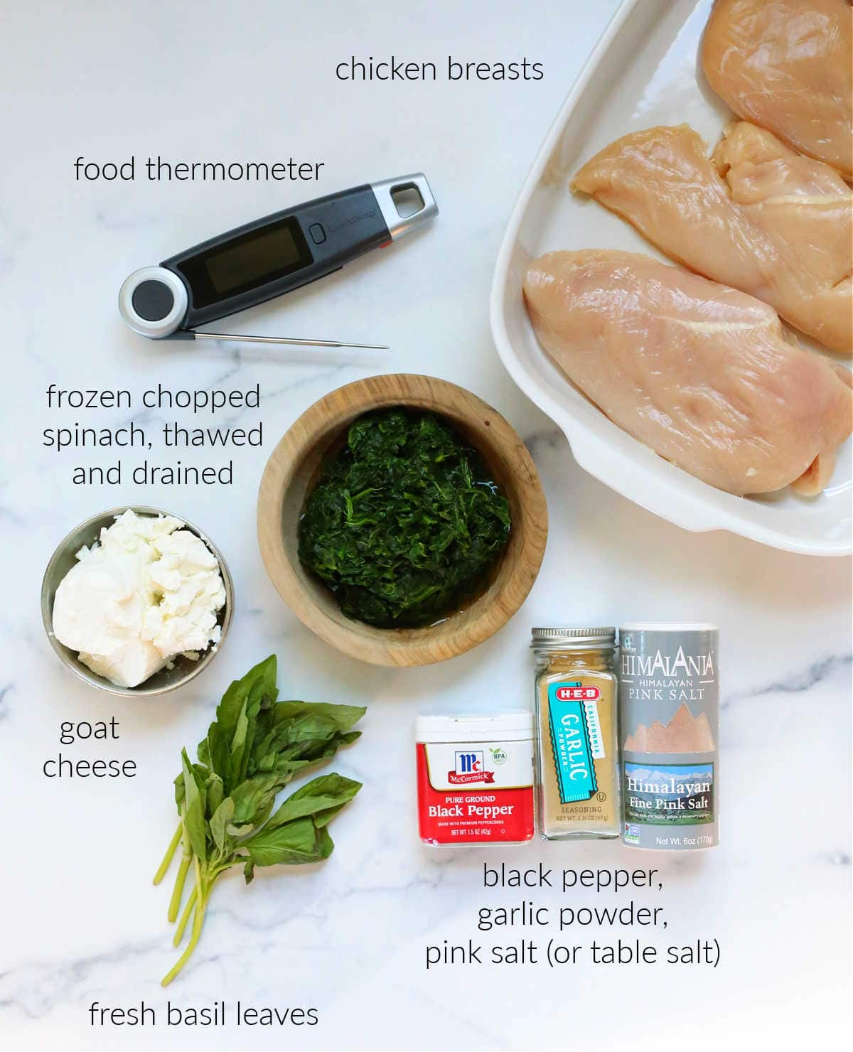ingredients for goat cheese and spinach stuffed chicken